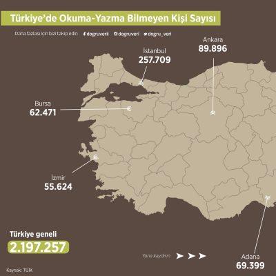 Türkiye'de Okuma-Yazma Bilmeyen Kişi Sayısı